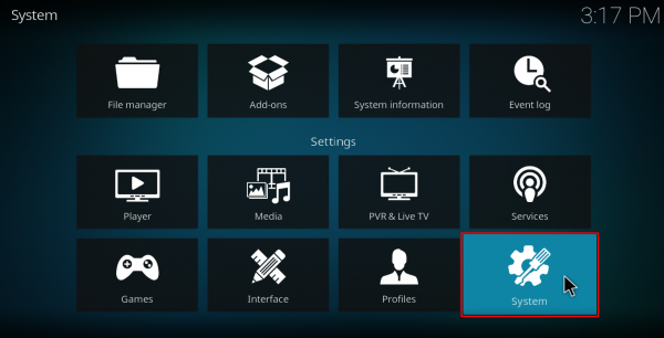 Screenshot of Kodi system