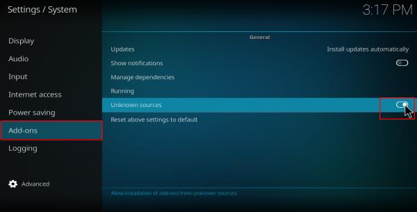 Screenshot of Kodi system unknown sources