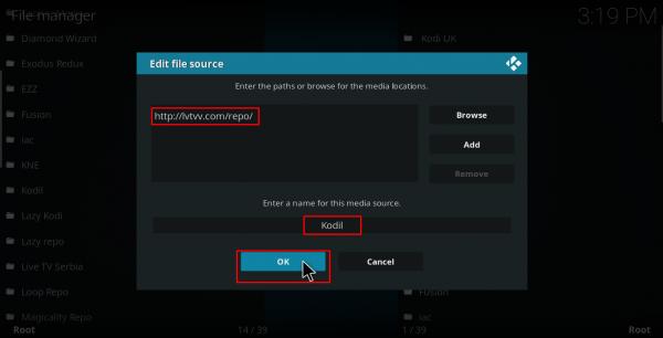 Screenshot of Kodi edit file source