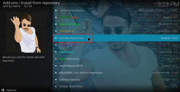 Screenshot of Kodi Add-ons install from repository
