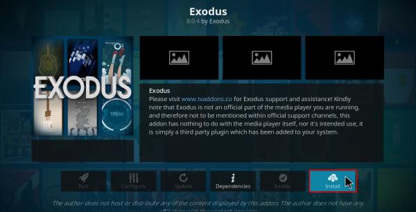Screenshot of Kodi Exodus add-ons