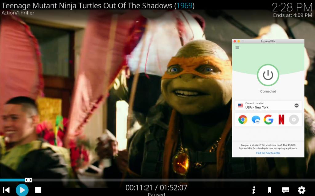 Skjermbilde av Kodi som spiller Teenage mutant ninja skilpadder mens hun er koblet til ExpressVPN