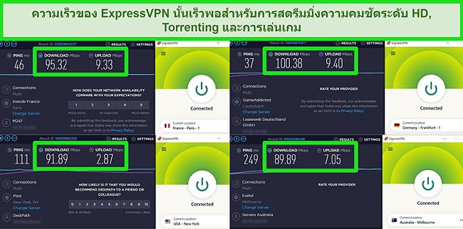 ภาพหน้าจอของผลการทดสอบความเร็วของ ExpressVPN เมื่อเชื่อมต่อกับเซิร์ฟเวอร์ต่างๆทั่วโลก