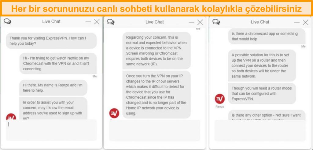 ExpressVPN müşteri hizmetleri temsilcisiyle canlı sohbet görüşmesinin ekran görüntüsü