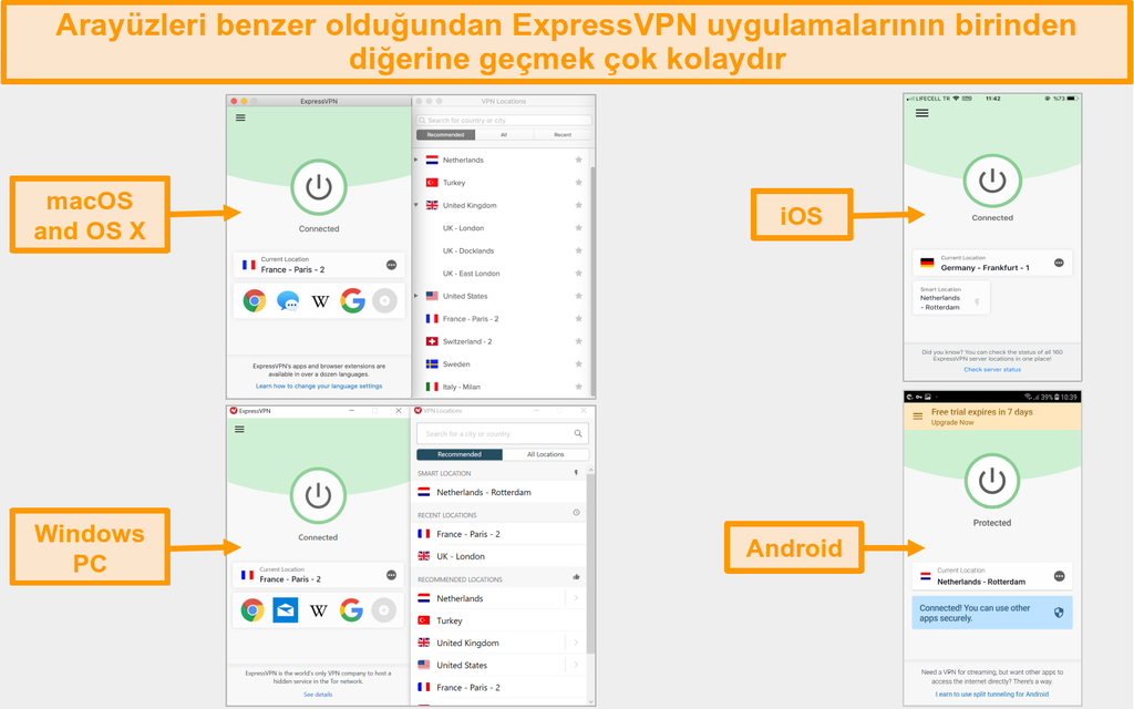 ExpressVPN mac, OS X, iOS, Windows ve Android uygulaması kullanıcı arayüzü ve düzeninin karşılaştırılması