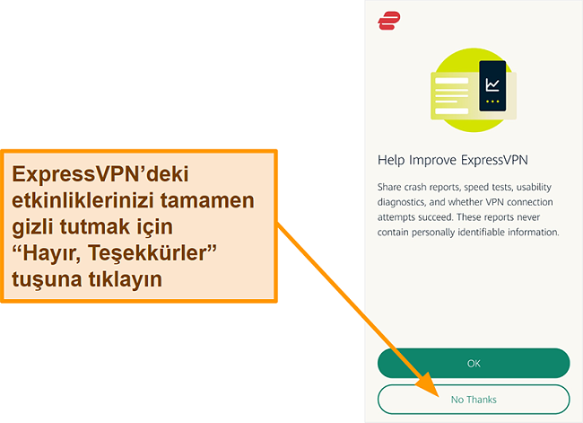 Kullanıcıdan kaza raporlarını, hız testini ve diğer kullanıcı verilerini şirketle paylaşma izni isteyen ExpressVPN uygulamasının ekran görüntüsü