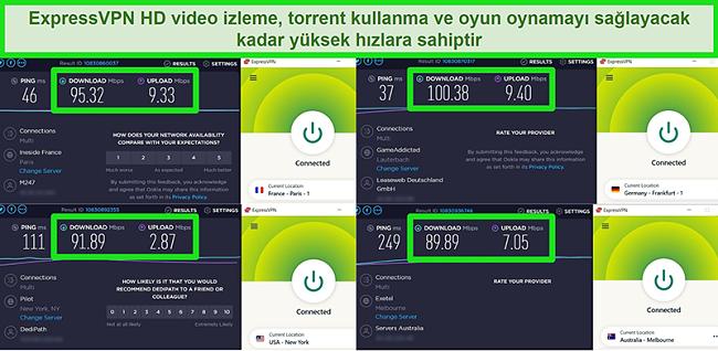ExpressVPN'in küresel olarak farklı sunuculara bağlandığında hız testi sonuçlarının ekran görüntüleri