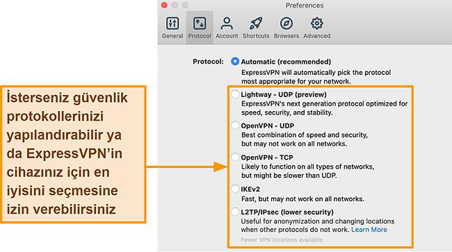 Lightway, OpenVPN, IKEv2 ve L2TP / IPsec dahil tüm mevcut protokolleri gösteren ExpressVPN uygulamasının ekran görüntüsü