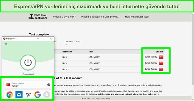 Türkiye sunucusuna bağlı ExpressVPN arayüzünün ekran görüntüsü ve DNS sızıntısı göstermeyen bir DNS test web sitesi