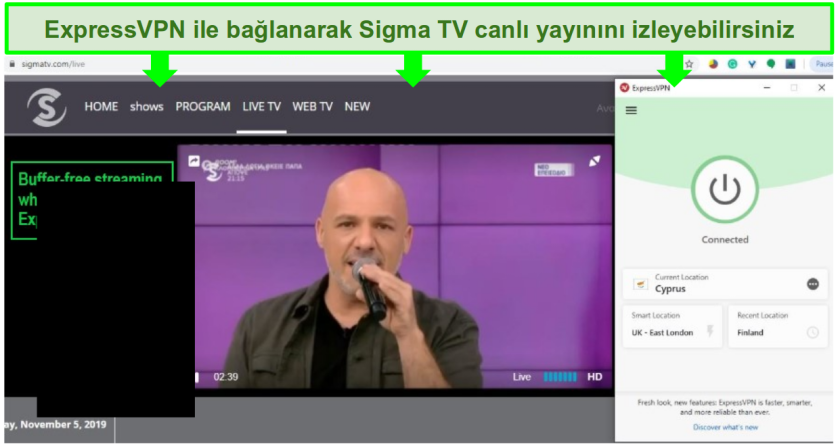 ExpressVPN aracılığıyla Kıbrıs'a bağlanarak mümkün kılınan bir Sigma TV canlı yayınındaki bir şarkıcının ekran görüntüsü