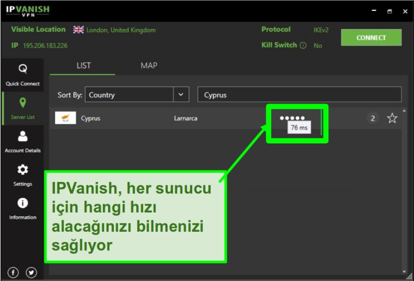 IPVanish'in Londra, Birleşik Krallık'taki hız derecelendirmesinin ekran görüntüsü. Bağlantı 76 ms