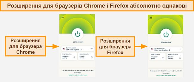Знімок екрана розширення браузера ExpressVPN для Google Chrome і Mozilla Firefox