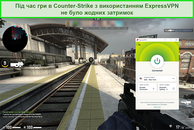 Знімок екрана ExpressPVN, підключеного до американського сервера, поки користувач грає в Counterstrike