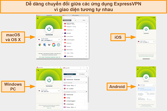 Ảnh chụp màn hình các giao diện ứng dụng của ExpressVPN dành cho Windows, Android, Mac và iPhone