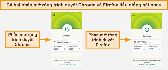 Ảnh chụp màn hình của tiện ích mở rộng trình duyệt ExpressVPN dành cho Google Chrome và Mozilla Firefox