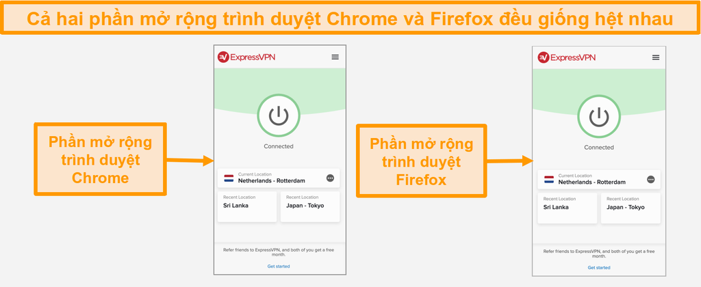 Ảnh chụp màn hình các tiện ích mở rộng trình duyệt của ExpressVPN cho Chrome và Firefox