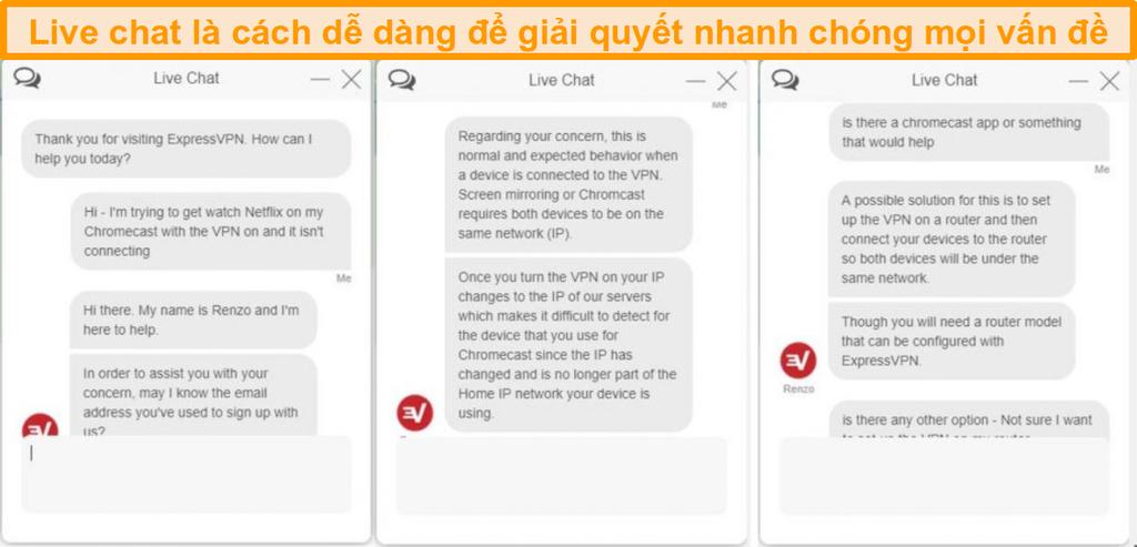 Ảnh chụp màn hình cuộc trò chuyện trực tiếp với đại diện dịch vụ khách hàng của ExpressVPN
