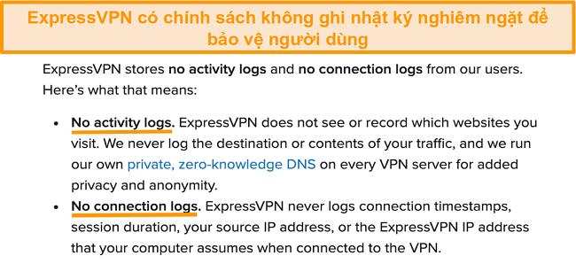 Ảnh chụp màn hình chính sách bảo mật của ExpressVPN trên trang web của mình