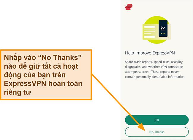 Ảnh chụp màn hình ứng dụng ExpressVPN yêu cầu người dùng cho phép chia sẻ báo cáo sự cố, kiểm tra tốc độ và dữ liệu người dùng khác với công ty