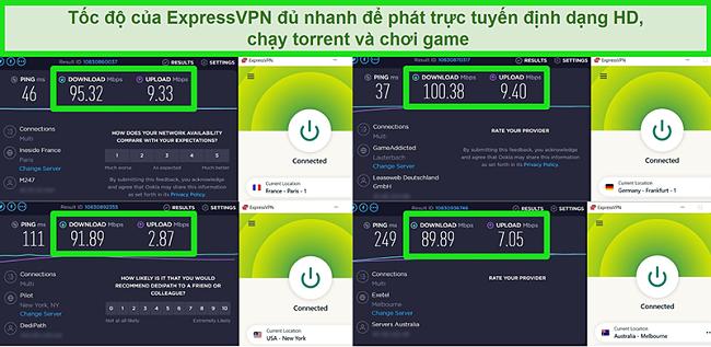 Ảnh chụp màn hình kết quả kiểm tra tốc độ của ExpressVPN khi được kết nối với các máy chủ khác nhau trên toàn cầu