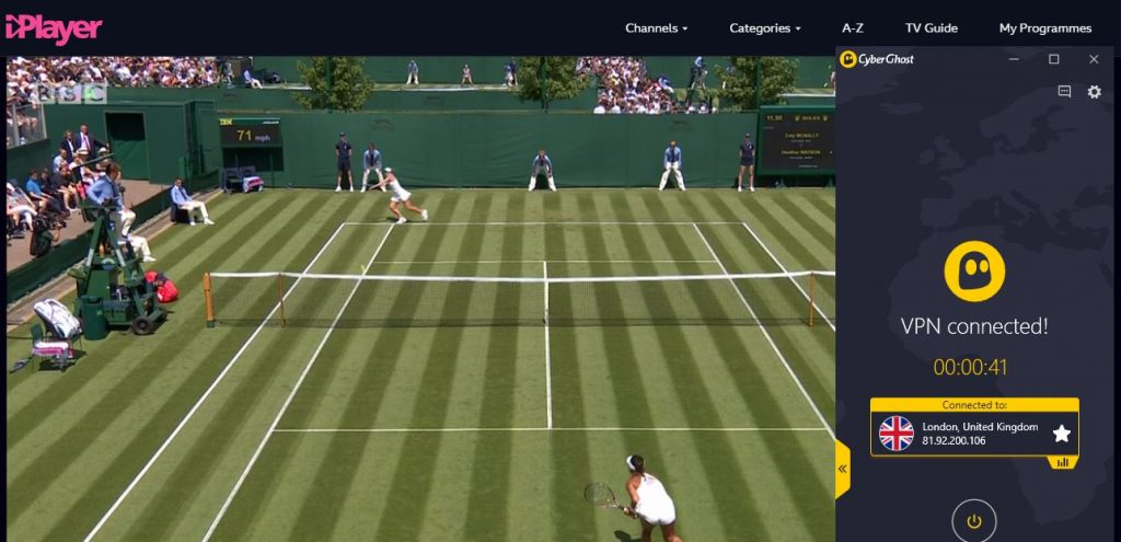 Watch Wimbledon with CyberGhost on BBC iPlayer