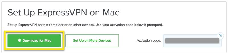 Screenshot of ExpressVPN's Download for Mac set up with activation code