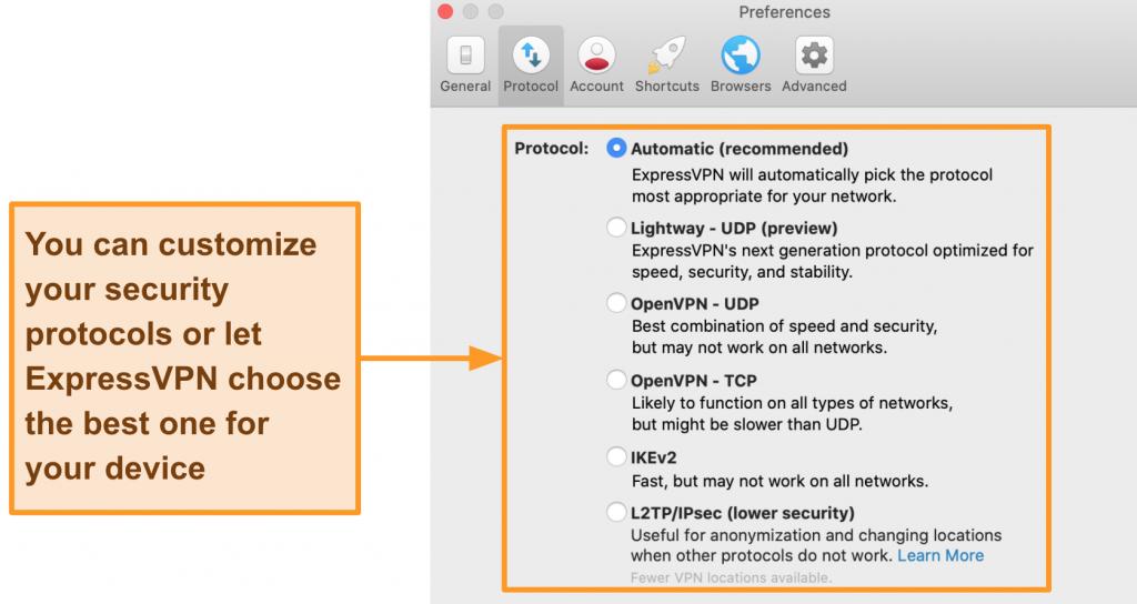 Screenshot of ExpressVPN's protocol options on the desktop app (including Lightway, OpenVPN, IKEv2, and L2TP/IPSec)