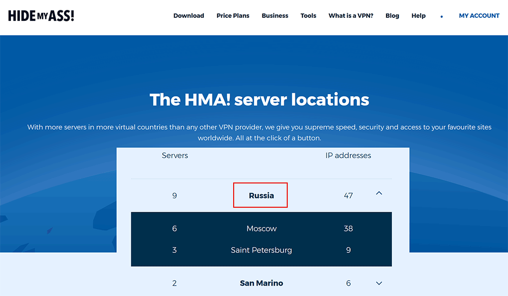 HideMyAss vpn Russian servers