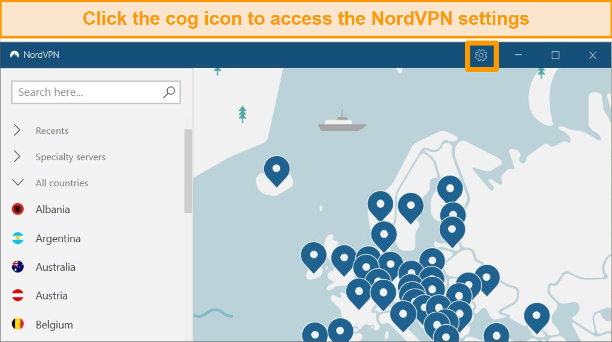 Screenshot of NordVPN main interface with Settings cog icon highlighted