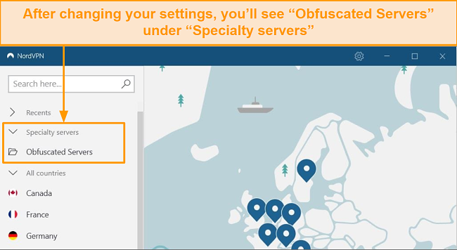 Screenshot showing NordVPN's obfuscated server option in the specialty servers menu