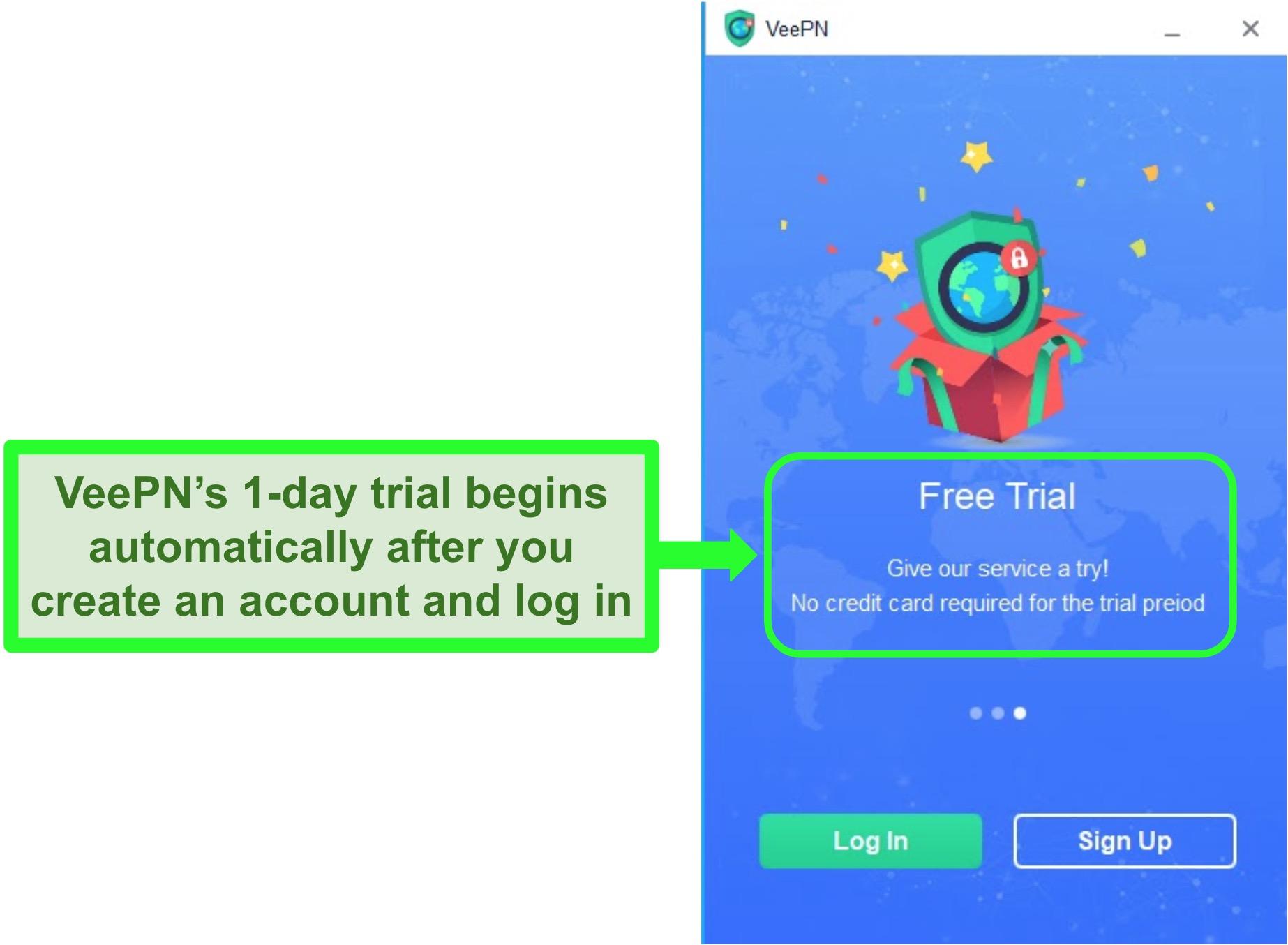 Screenshot of the start screen of VeePN's Windows app