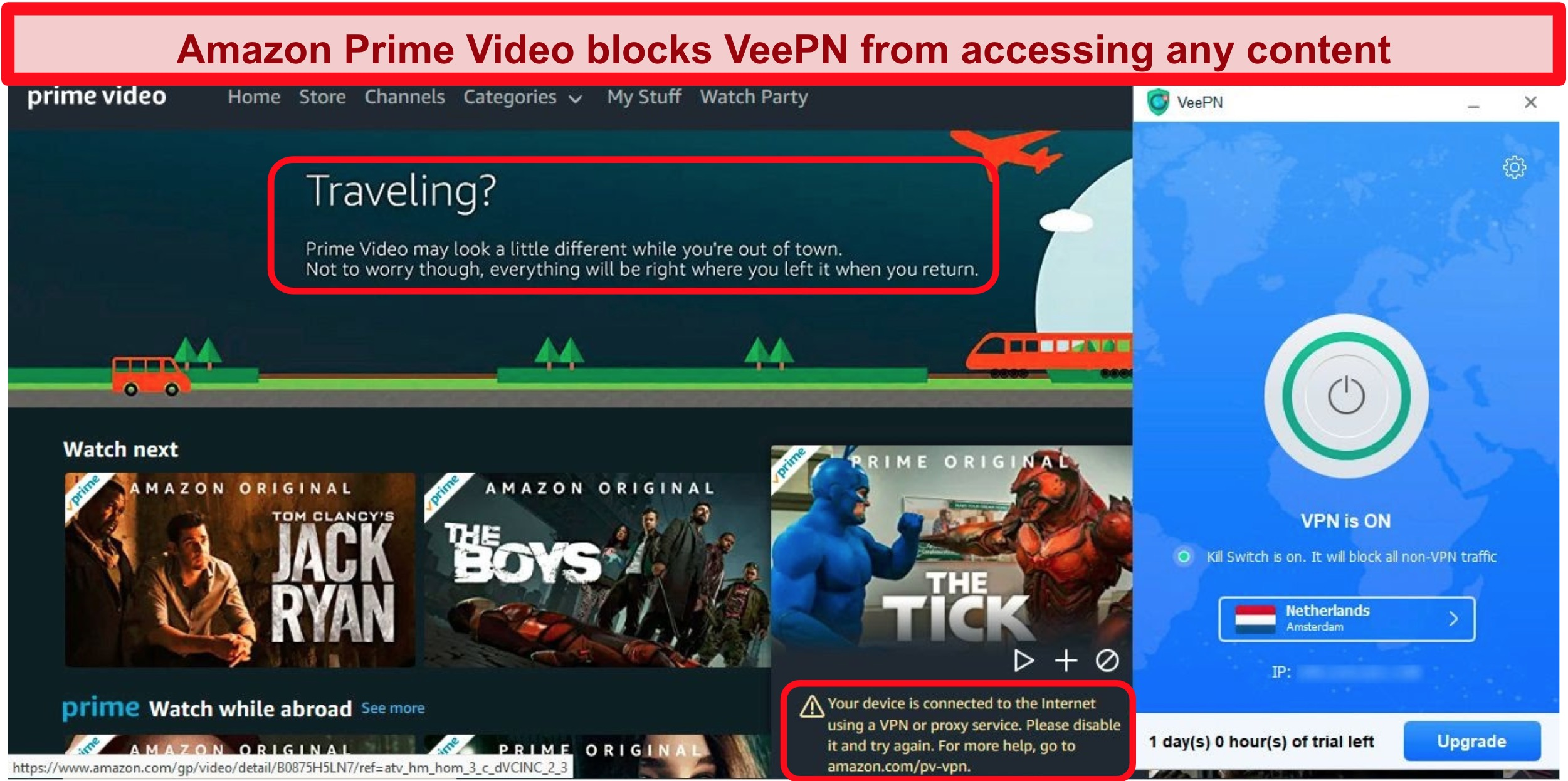 Screenshot of Amazon Prime Video's proxy IP error while connected to VeePN's server in the Netherlands