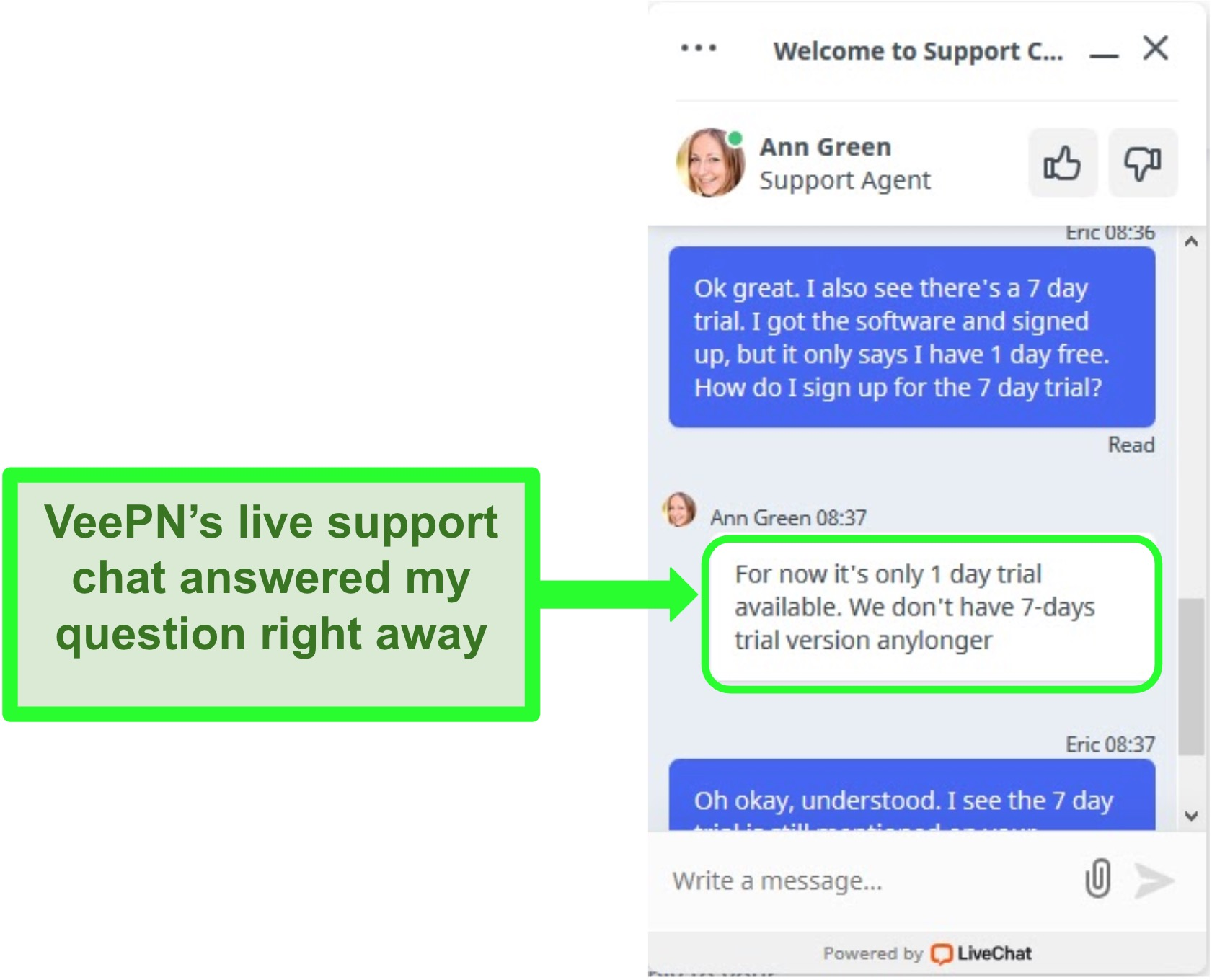 Screenshot of VeePN's live support chat answering a question about the free trial