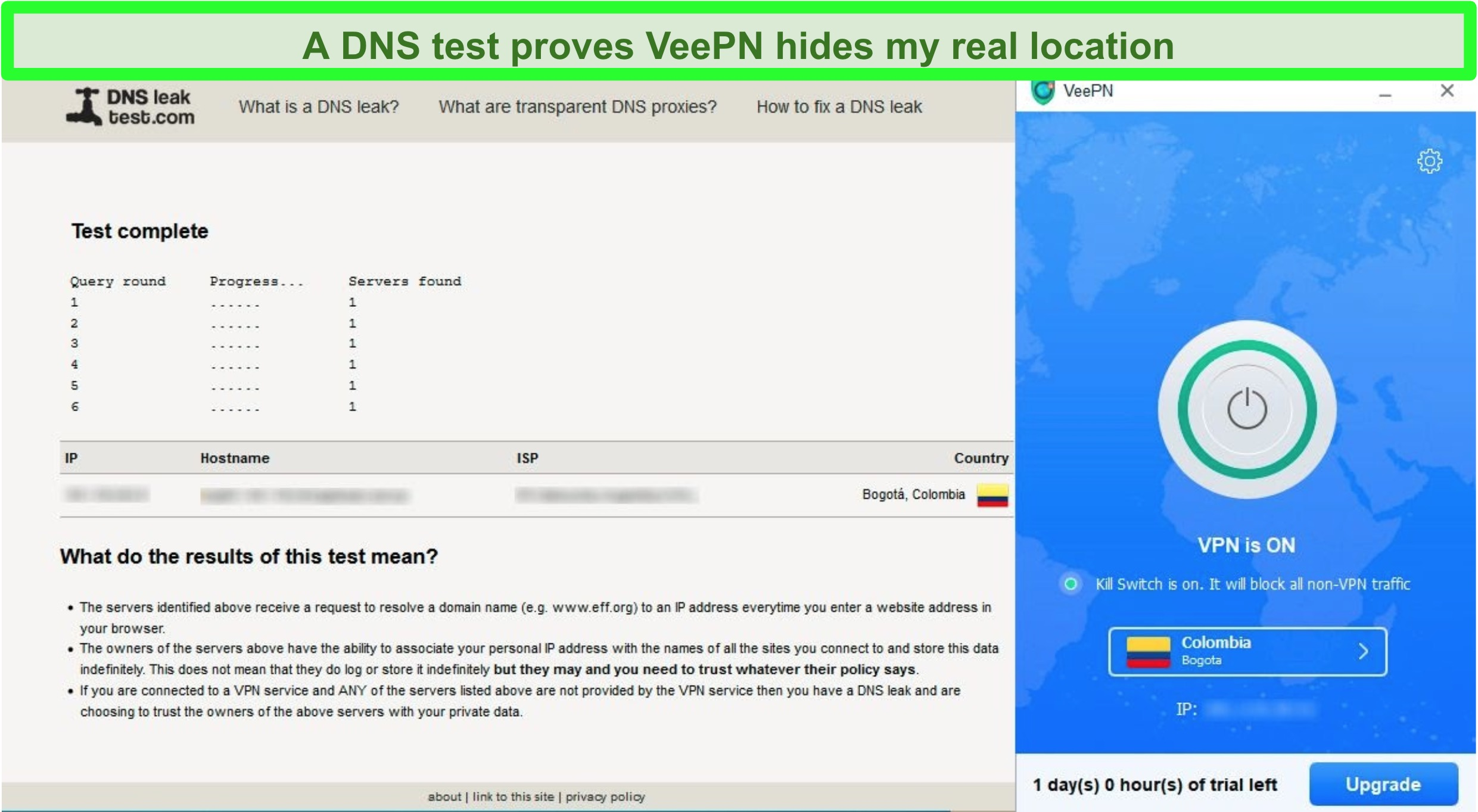 Screenshot of a DNS leak test showing no leaks while VeePN is connected to a server in Colombia