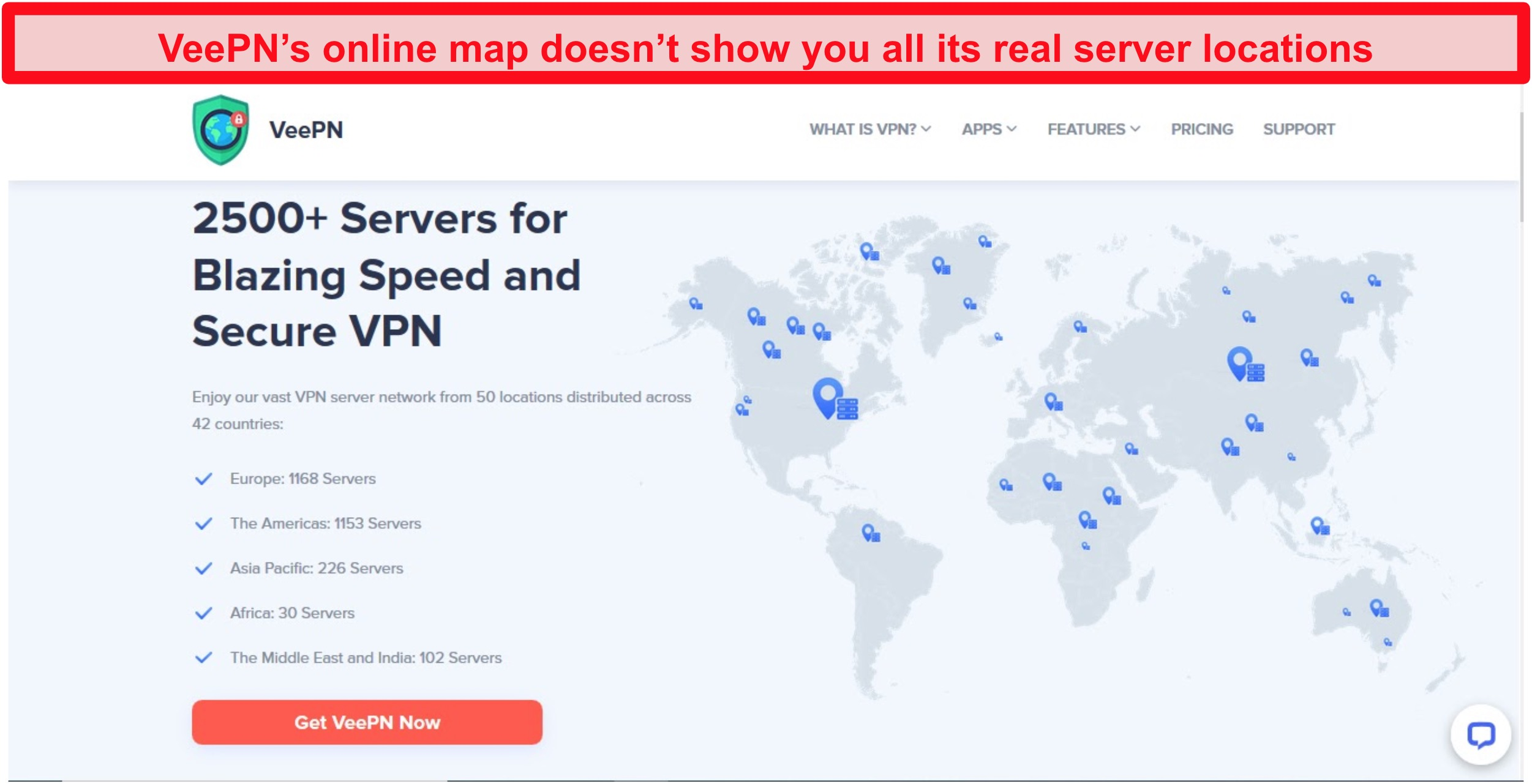 Screenshot from the VeePN website showing its server map with inaccurate locations