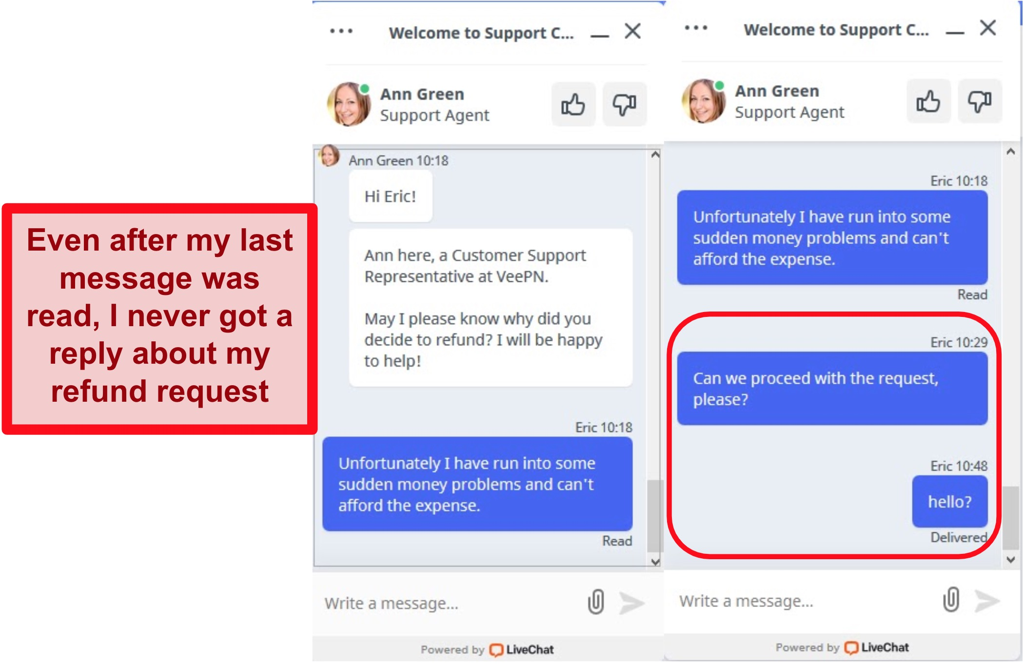 Screenshots of live support chat on VeePN's website showing an unanswered refund request