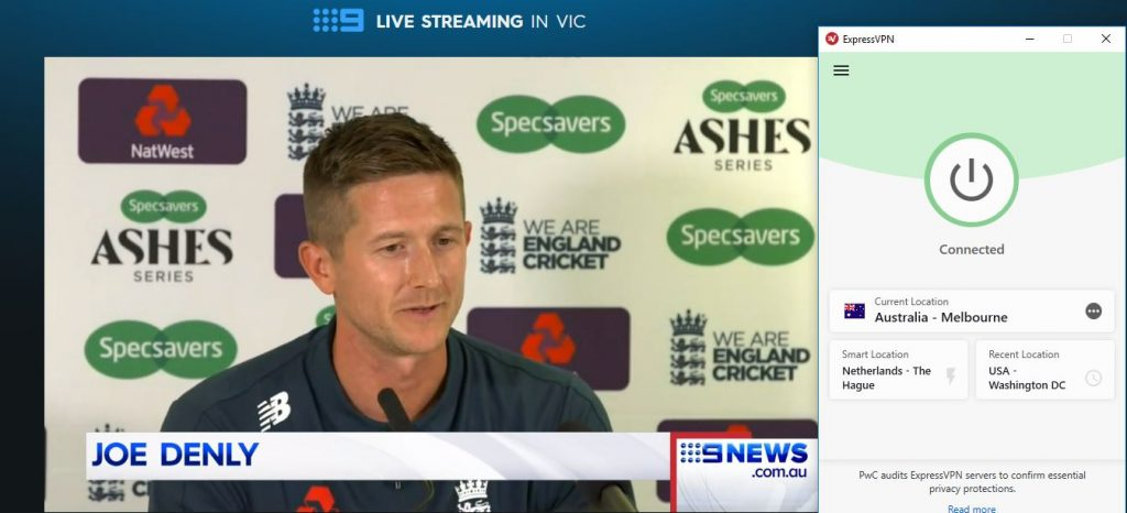 Live stream The Ashes with ExpressVPN