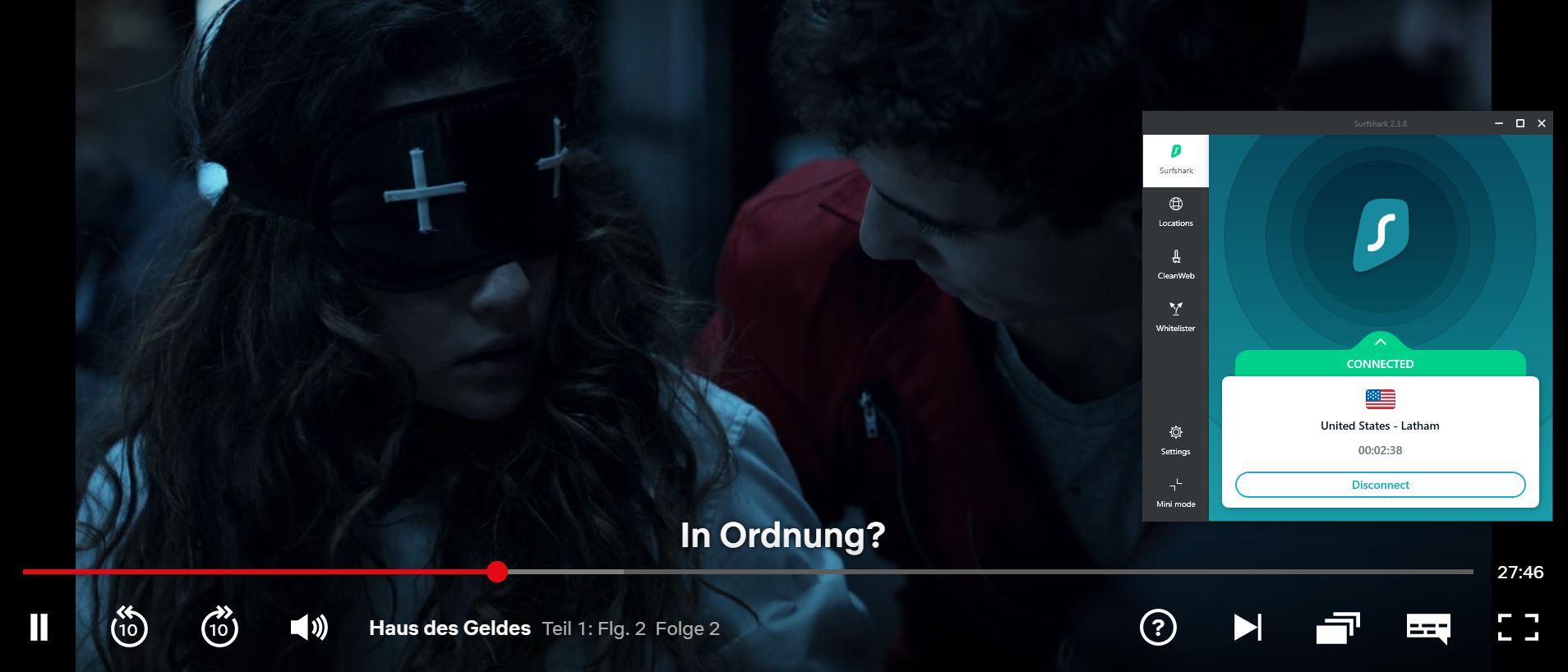 Screenshot des Streamings auf Netflix mit Surfshark -