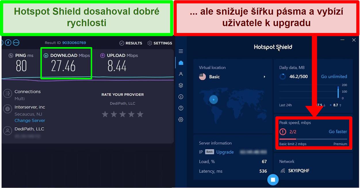 HotspotShield omezuje rychlost motivace uživatelů k odběru