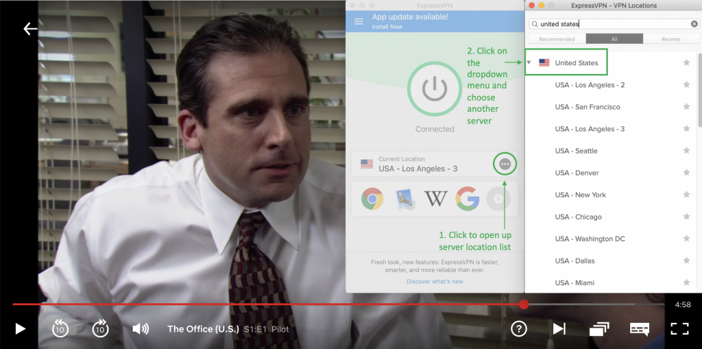 the office us playing with expressvpn connected and instructions how to choose a us server