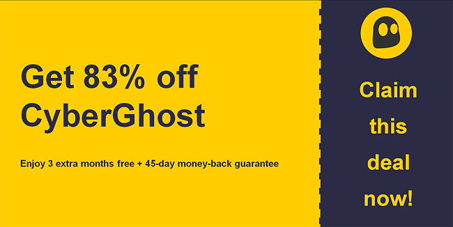 graphic of cyberghostvpn main coupon banner showing 83% off