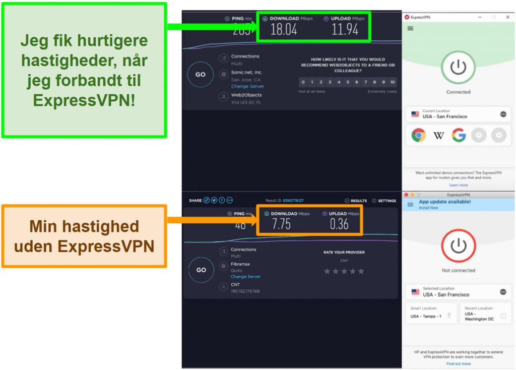 ExpressVPN forbedrede min hastighed, når jeg blev tilsluttet en amerikansk server