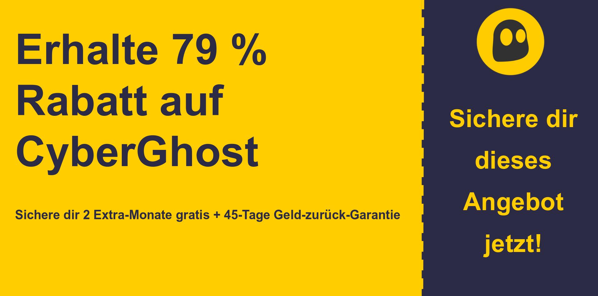 Grafik des CyberGhostVPN-Hauptcoupon-Banners mit 79% Rabatt