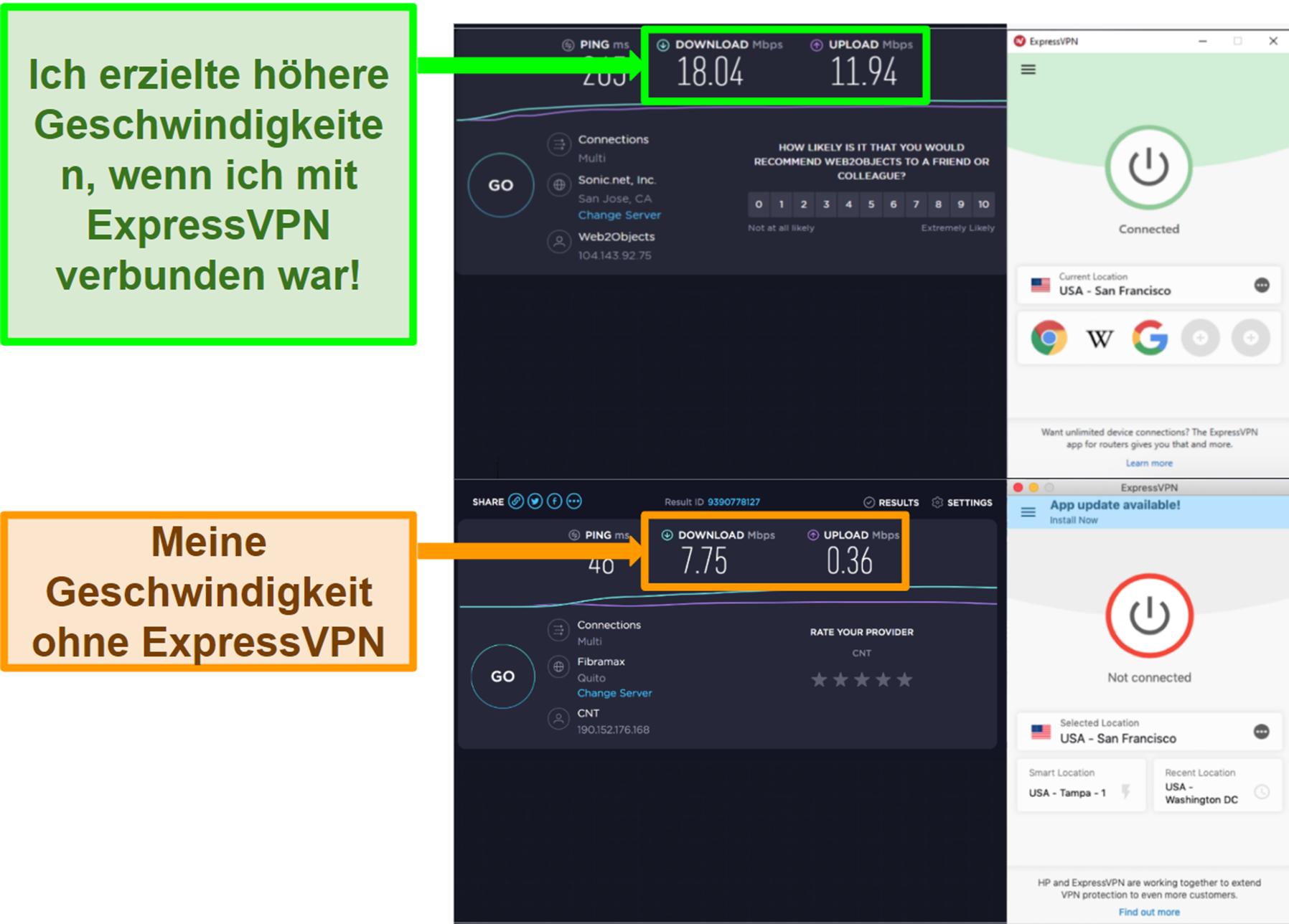 ExpressVPN hat meine Geschwindigkeit verbessert, wenn eine Verbindung zu einem US-Server besteht