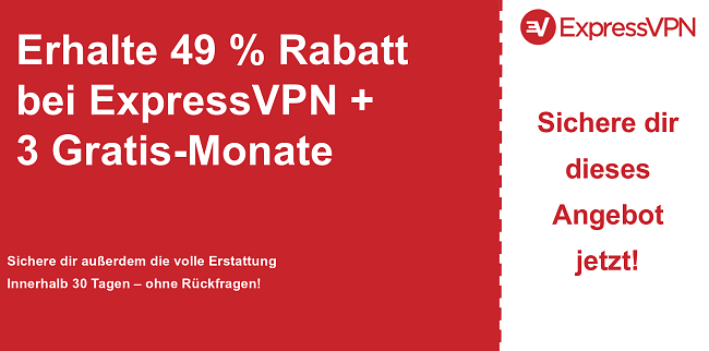 Grafik des ExpressVPN-Hauptcoupon-Banners mit 49% Rabatt