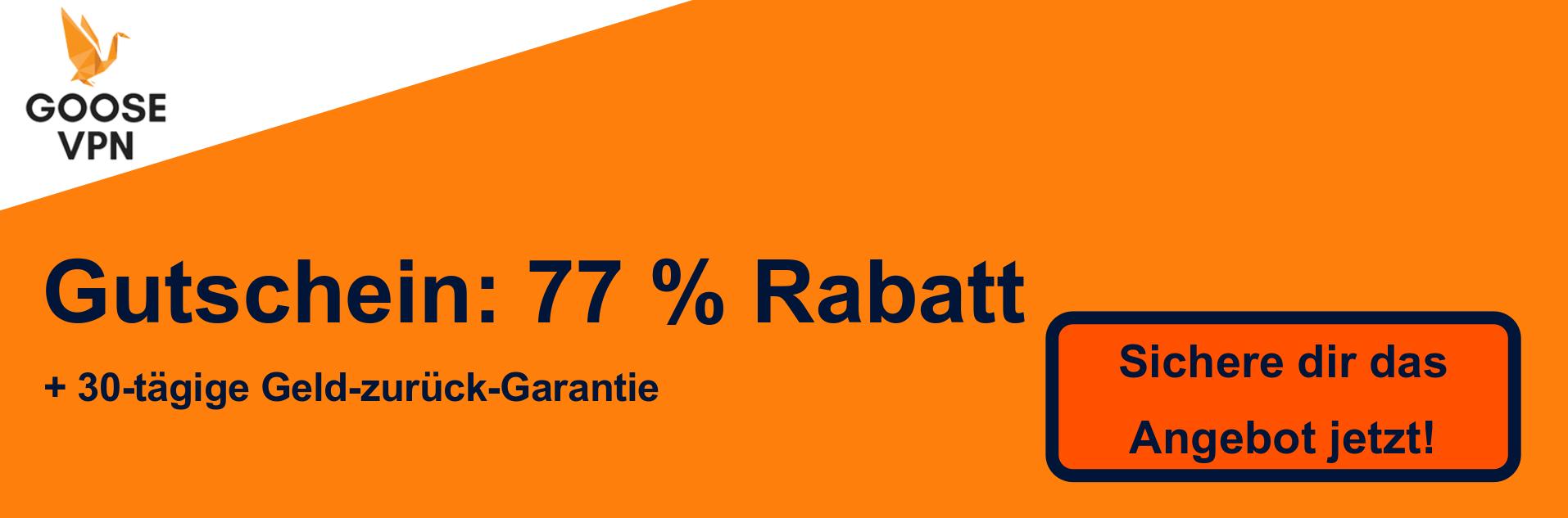 GooseVPN Gutschein Banner - 77% Rabatt