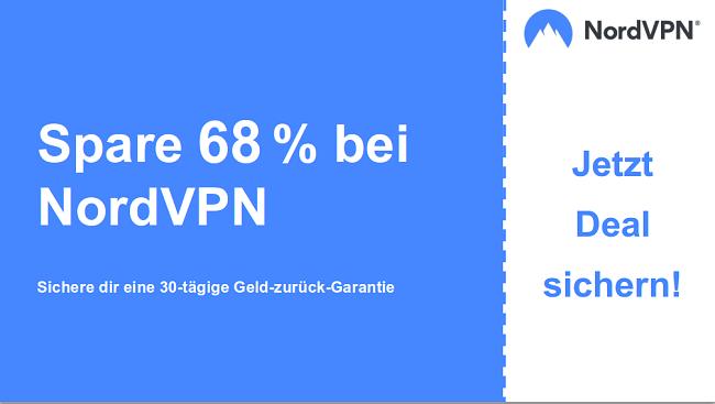 Grafik des Nordvpn-Hauptcoupon-Banners mit 68% Rabatt