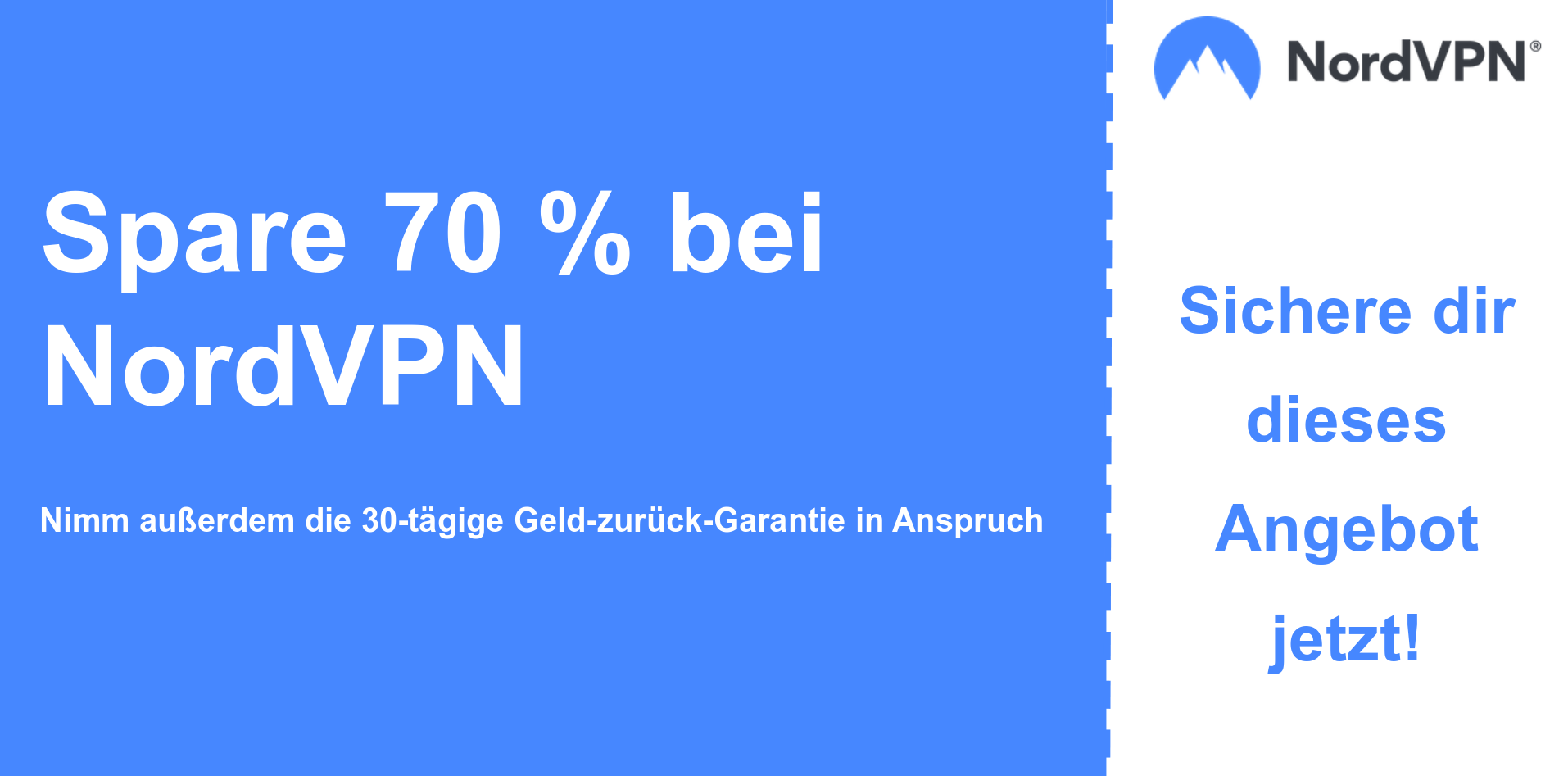 Grafik des Nordvpn-Hauptcoupon-Banners mit 70% Rabatt
