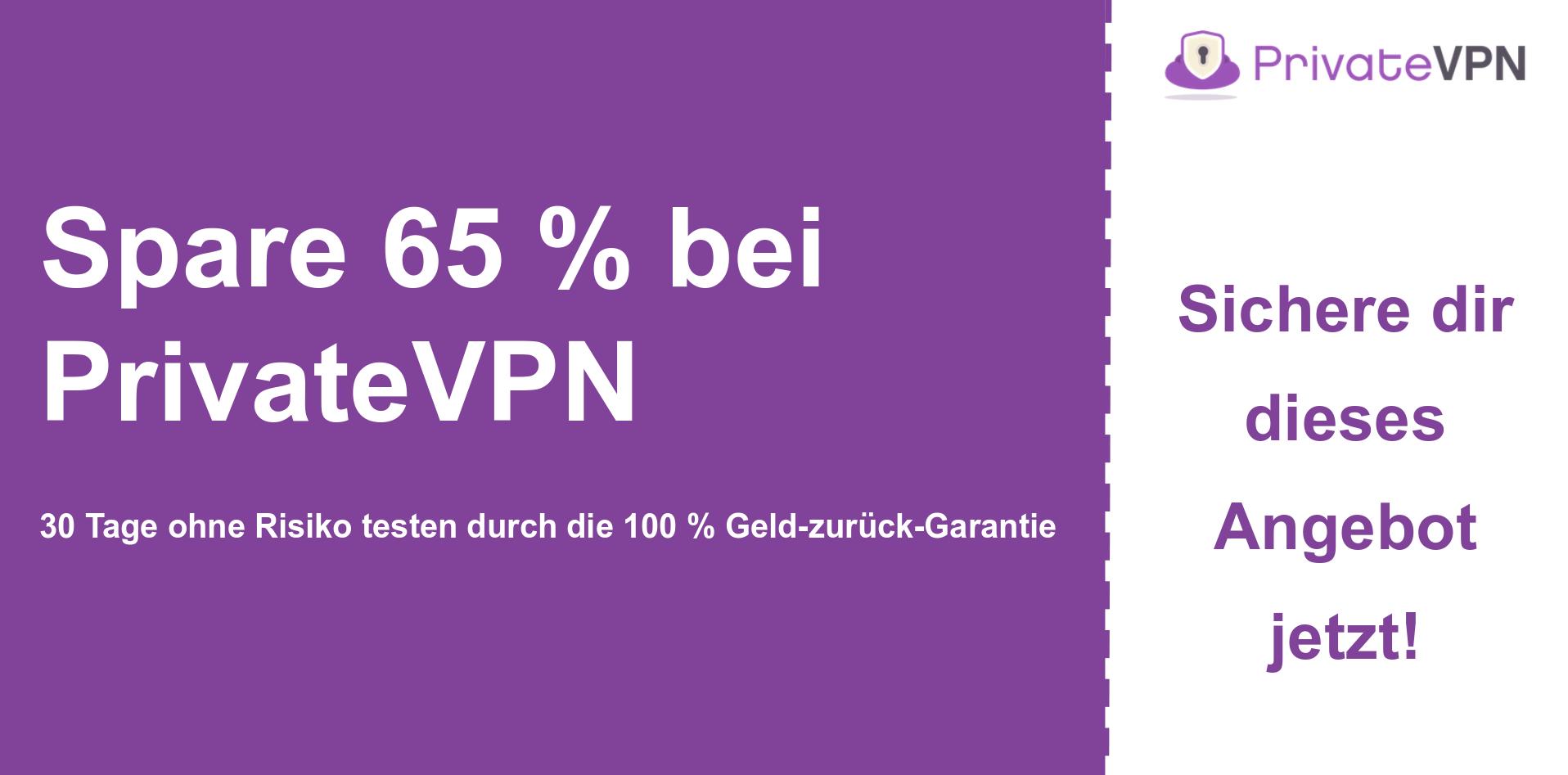 Grafik des PrivateVPN-Hauptcoupon-Banners mit 65% Rabatt