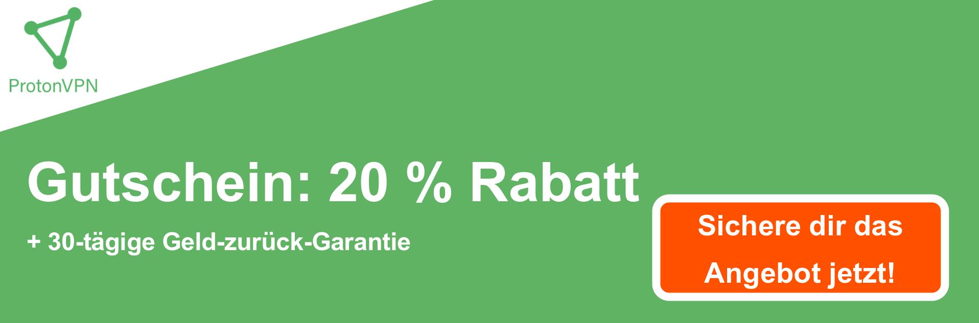 Proton VPN Coupon Banner - 20% Rabatt